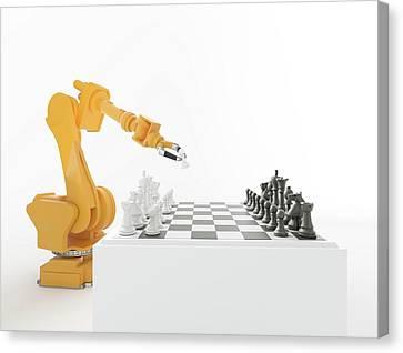Robotic Arm Playing Chess Canvas Print