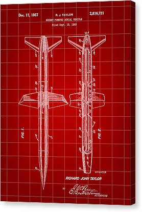 Rocket Patent 1953 - Red Canvas Print by Stephen Younts