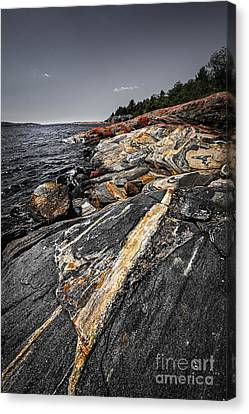 Rocks At Georgian Bay Canvas Print by Elena Elisseeva