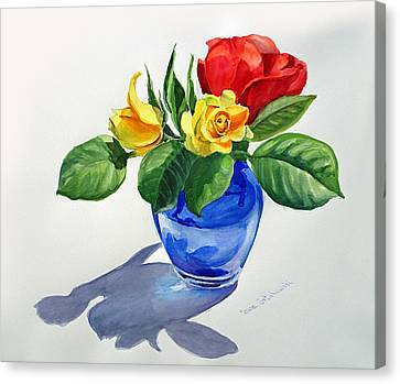 Canvas Print featuring the painting Roses by Irina Sztukowski