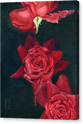 3 Roses Red Canvas Print