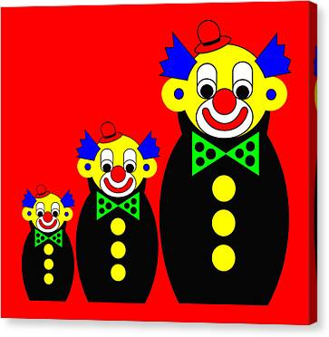 3 Russian Clown Dolls On Red Canvas Print by Asbjorn Lonvig