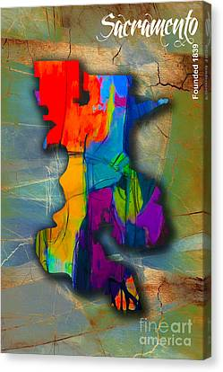 Sacramento Canvas Print - Sacramento Map And Skyline Watercolor by Marvin Blaine