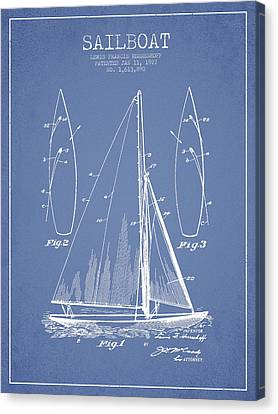Sail Boats Canvas Print - Sailboat Patent Drawing From 1927 by Aged Pixel