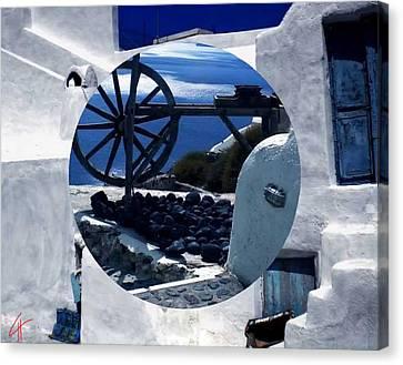 Canvas Print featuring the photograph Santorini Island Greece by Colette V Hera  Guggenheim