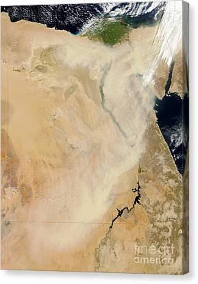 Sudan Red Canvas Print - Satellite View Of A Dust Storm by Stocktrek Images