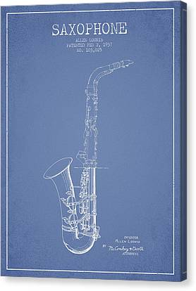 Saxophone Patent Drawing From 1937 - Light Blue Canvas Print by Aged Pixel