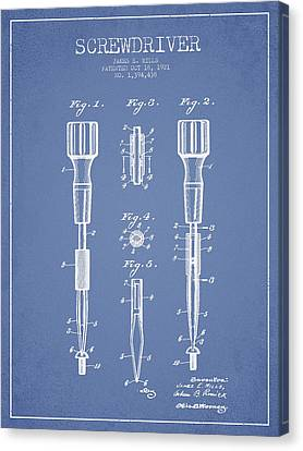 Screwdriver Patent Drawing From 1921 Canvas Print