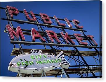 Locally Grown Canvas Print - Seattle Market Sign by Brian Jannsen