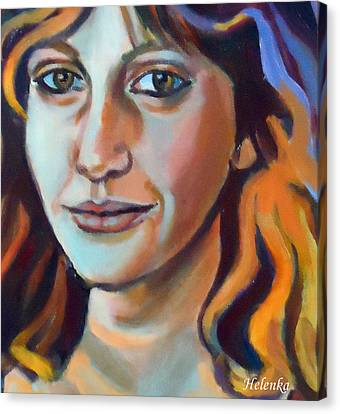 Canvas Print featuring the painting Self Portrait  by Helena Wierzbicki