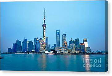Shanghai Pudong Cityscape At Night Canvas Print