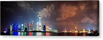 Shanghai Skyline At Night Canvas Print