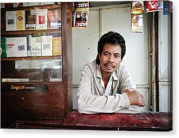 Shopkeeper With Leprosy Canvas Print by Matthew Oldfield