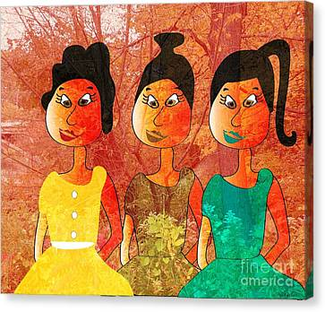 Canvas Print featuring the drawing Sisters by Iris Gelbart