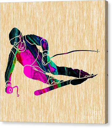 Skier Painting Canvas Print