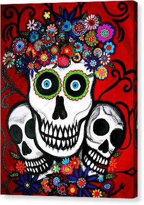 Canvas Print featuring the painting 3 Skulls by Pristine Cartera Turkus