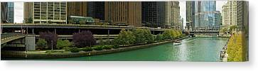 Chicago River Canvas Print - Skyscrapers At The Waterfront, Chicago by Panoramic Images