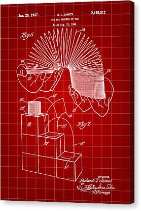 Parchment Canvas Print - Slinky Patent 1946 - Red by Stephen Younts