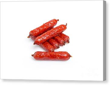 Kielbasa Canvas Print - Small Smoked Sausages by Aleksey Tugolukov
