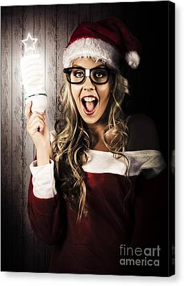 Smart Female Santa Claus With Christmas Idea Canvas Print