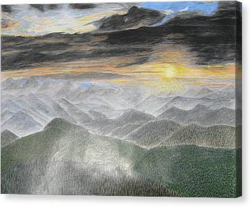 Smoky Mountain Sunset Canvas Print by Steve Keller