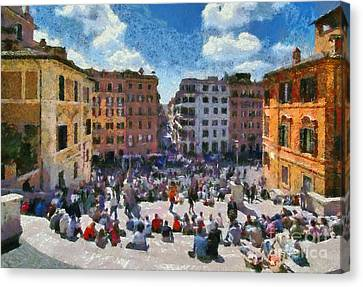 Sunny Canvas Print - Spanish Steps At Piazza Di Spagna by George Atsametakis