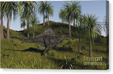 Spinosaurus Hunting In An Open Field Canvas Print by Kostyantyn Ivanyshen