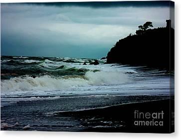 Stormy Seas At Night Canvas Print