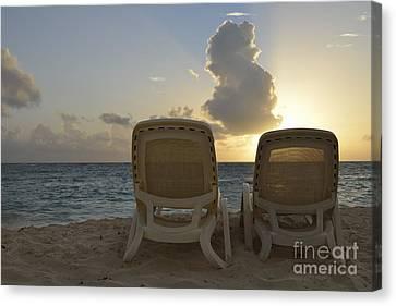 Sun Lounger On Tropical Beach Canvas Print by Sami Sarkis