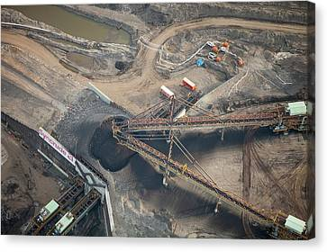 Tar Sands Deposits Being Mined Canvas Print by Ashley Cooper