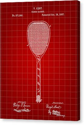 Tennis Racket Patent 1887 - Red Canvas Print