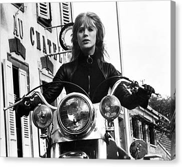 The Girl On A Motorcycle  Canvas Print