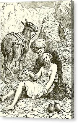 The Good Samaritan Canvas Print by English School