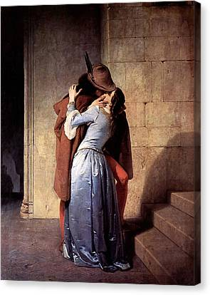 Canvas Print featuring the digital art The Kiss by Francesco Hayez