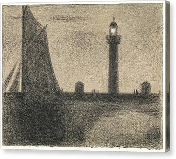 The Lighthouse At Honfleur Canvas Print by Georges Seurat