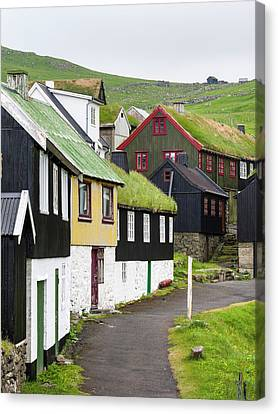Sod Canvas Print - The Village On Island Mykines, Part by Martin Zwick
