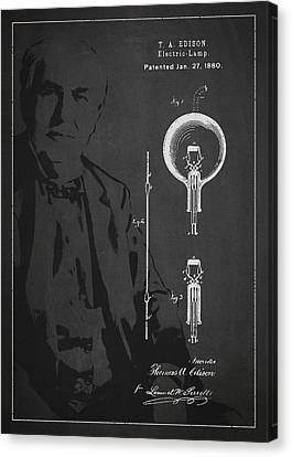 Thomas Canvas Print - Thomas Edison Electric Lamp Patent Drawing From 1880 by Aged Pixel