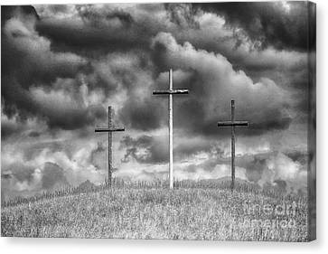 Three Crosses On Hill Canvas Print