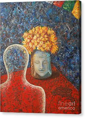 Canvas Print featuring the painting Tibetan Prayers by Mini Arora