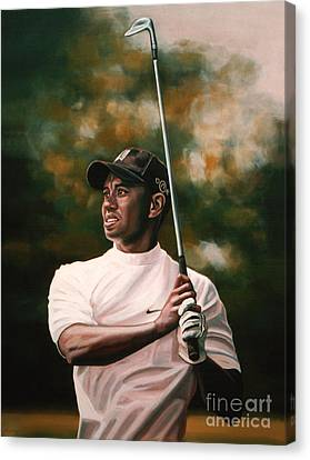 Slam Canvas Print - Tiger Woods  by Paul Meijering