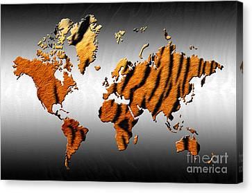 Tiger World Map Canvas Print by Zaira Dzhaubaeva