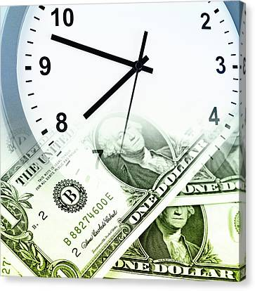 Time Is Money Concept Canvas Print by Les Cunliffe