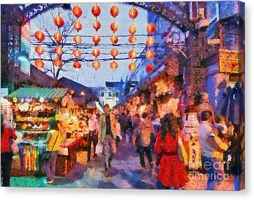 China Canvas Print - Traditional Shopping Area by George Atsametakis
