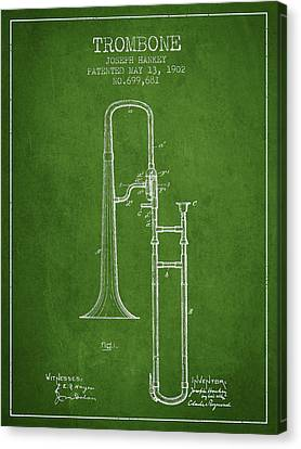 Trombone Patent From 1902 - Green Canvas Print by Aged Pixel