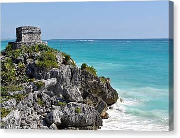 Tulum Mexico Coastal Mayan Ruin Canvas Print by Brandon Bourdages