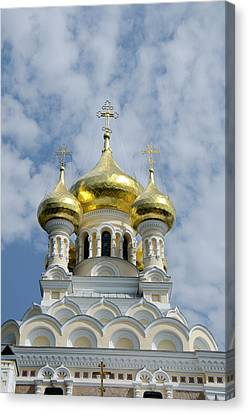 Russian Cross Canvas Print - Ukraine, Yalta Exterior Of Saint by Cindy Miller Hopkins
