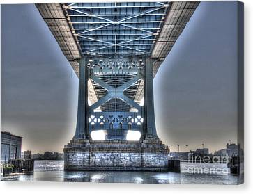 Under The Bridge - Ben Franklin, Philadelphia Canvas Print by Mark Ayzenberg
