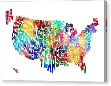 Font Map Canvas Print - United States Typography Text Map by Michael Tompsett