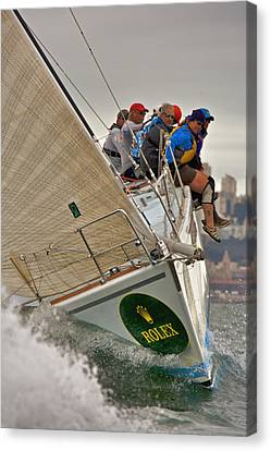 Upwind On The Bay Canvas Print by Steven Lapkin