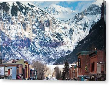Usa, Colorado, Telluride, Main Street Canvas Print by Walter Bibikow